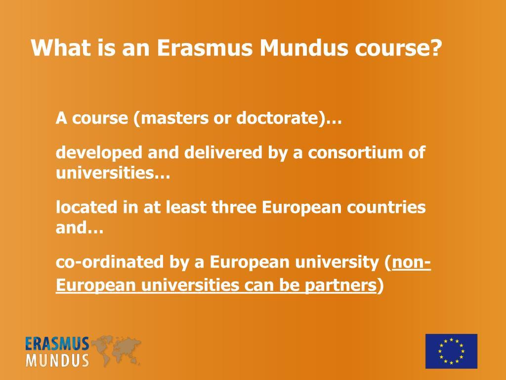 What is an Erasmus Mundus course?
