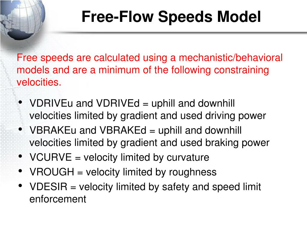Free-Flow Speeds Model