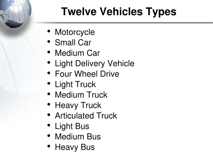Twelve vehicles types
