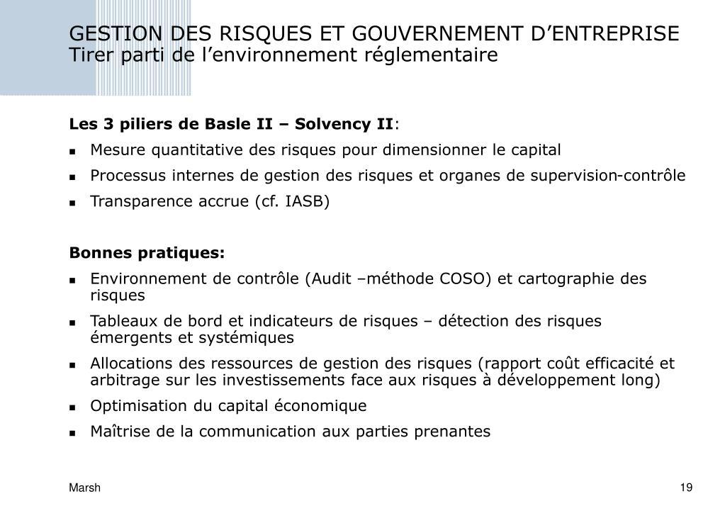 GESTION DES RISQUES ET GOUVERNEMENT D'ENTREPRISE