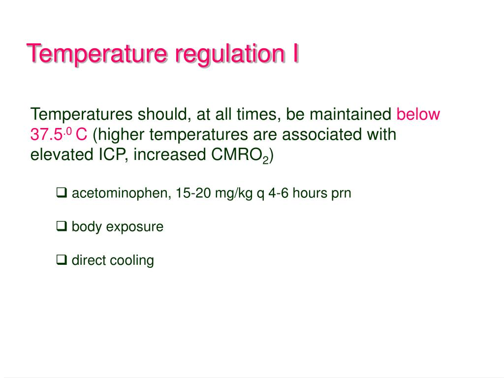 Temperature regulation I