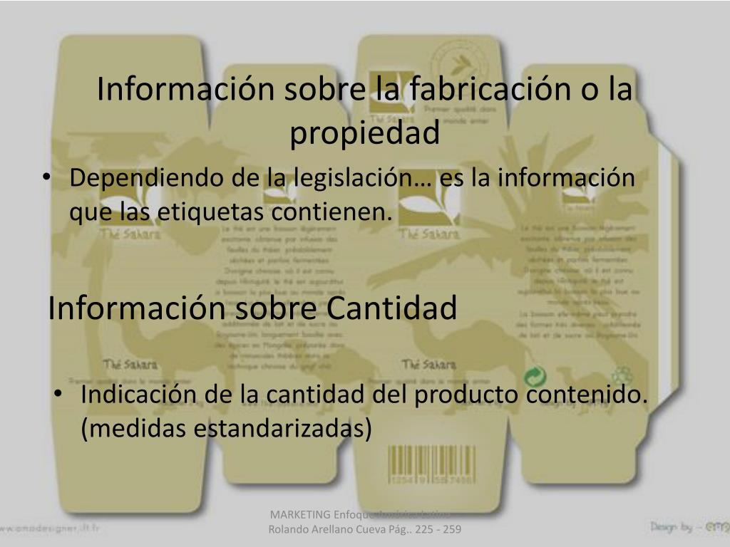 Información sobre la fabricación o la propiedad