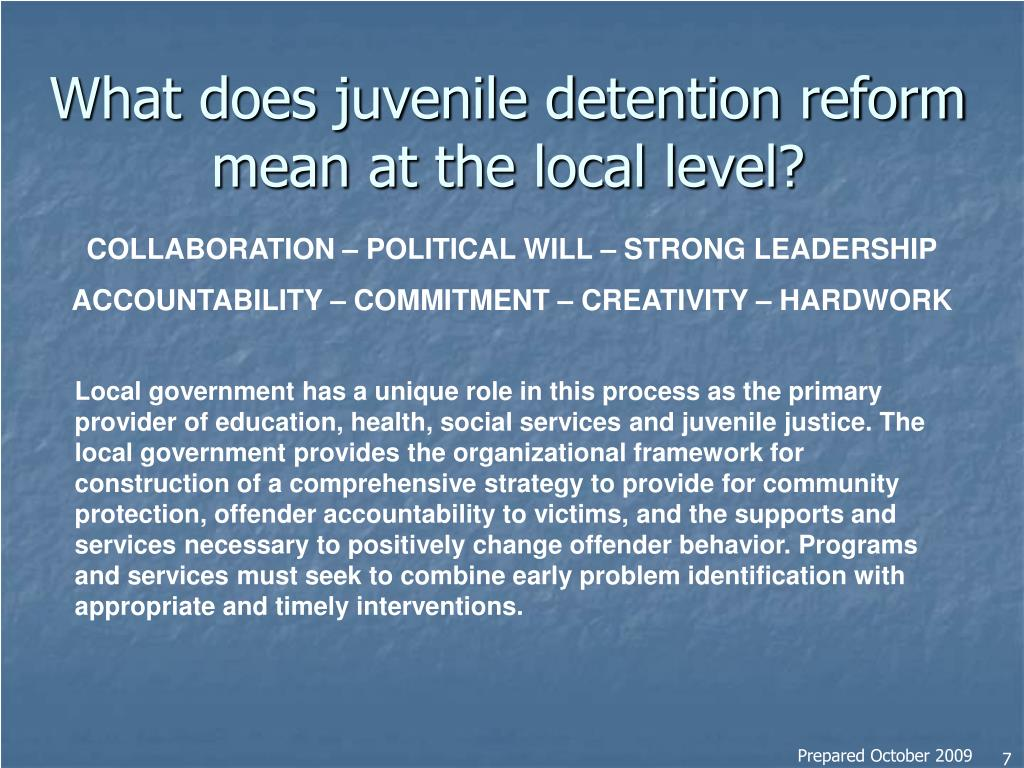 What does juvenile detention reform mean at the local level?