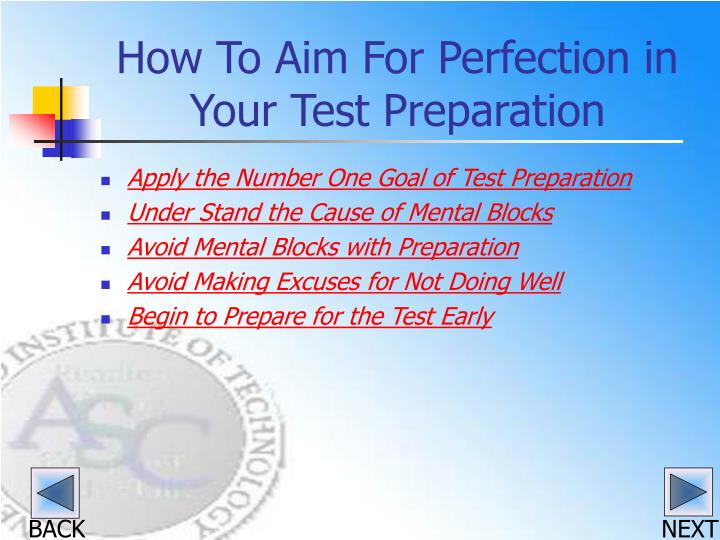 How to aim for perfection in your test preparation3