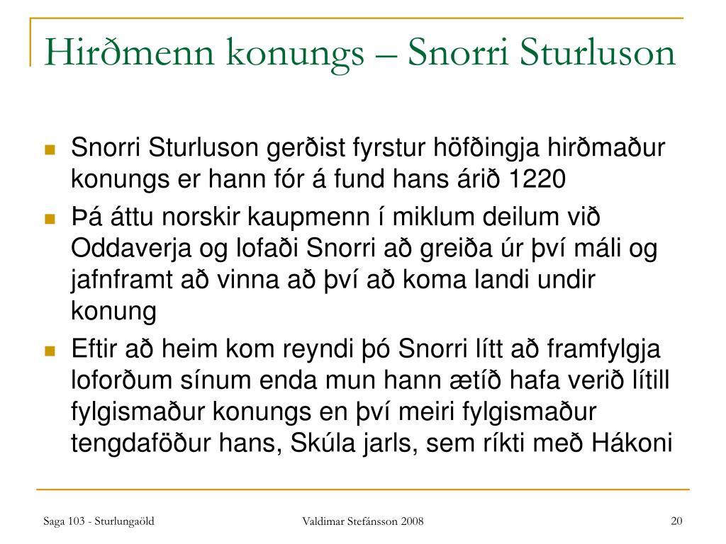 Hirðmenn konungs – Snorri Sturluson