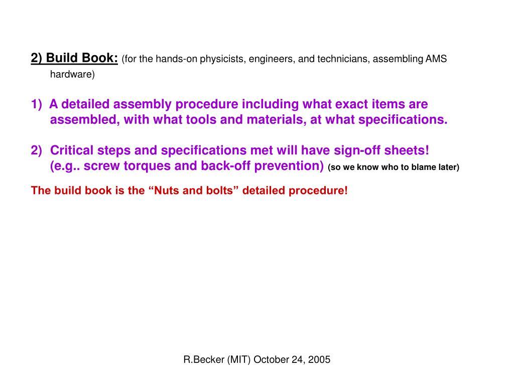2) Build Book: