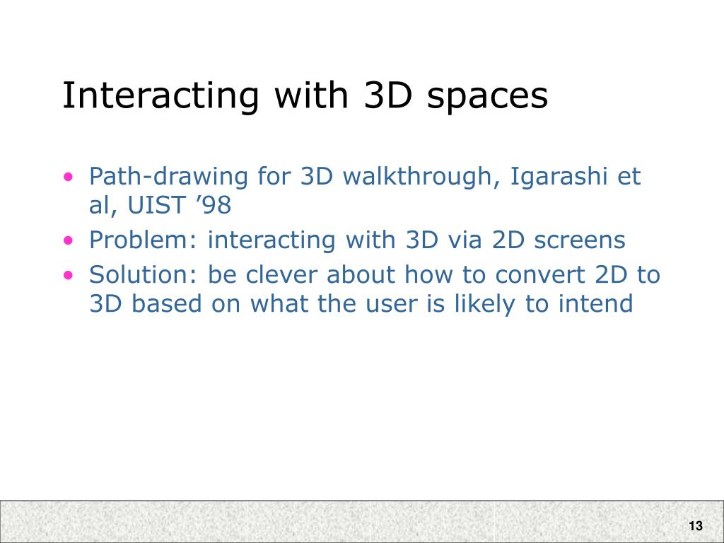 Interacting with 3D spaces