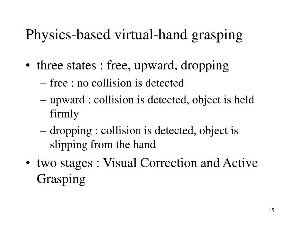 Physics-based virtual-hand grasping