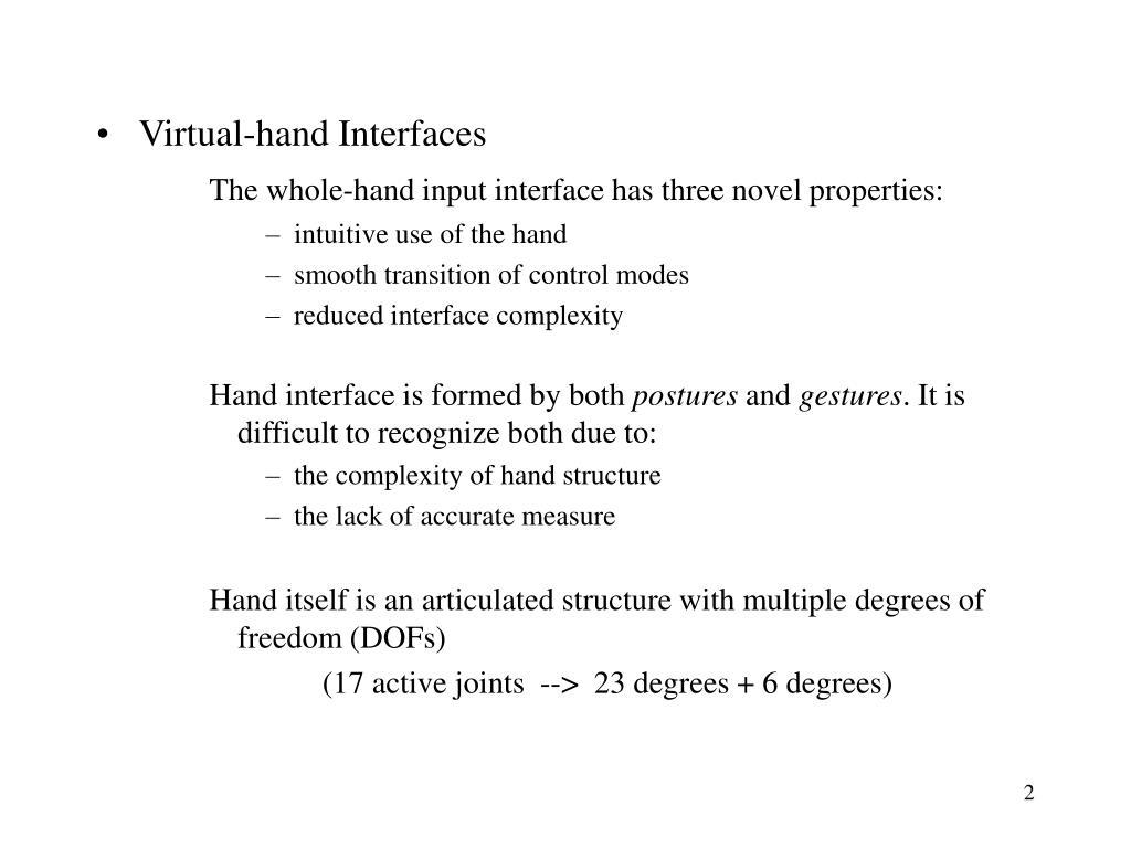 Virtual-hand Interfaces