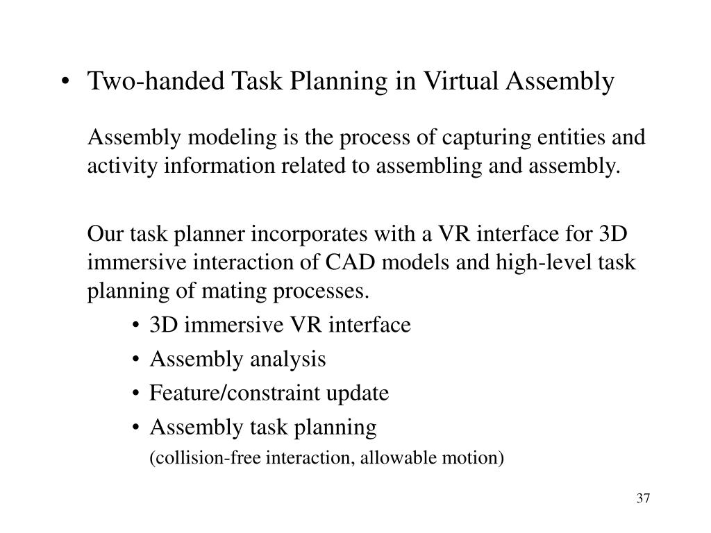 Two-handed Task Planning in Virtual Assembly