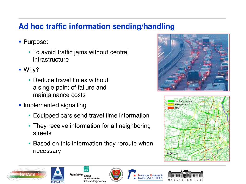 Ad hoc traffic information sending/handling