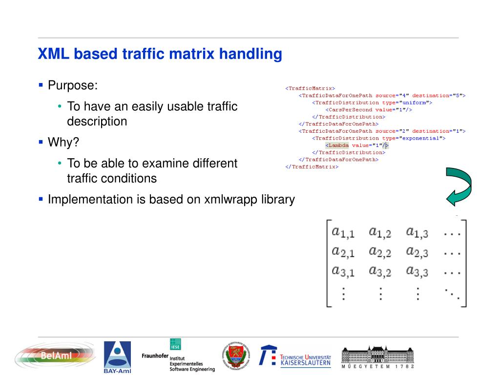 XML based traffic matrix handling