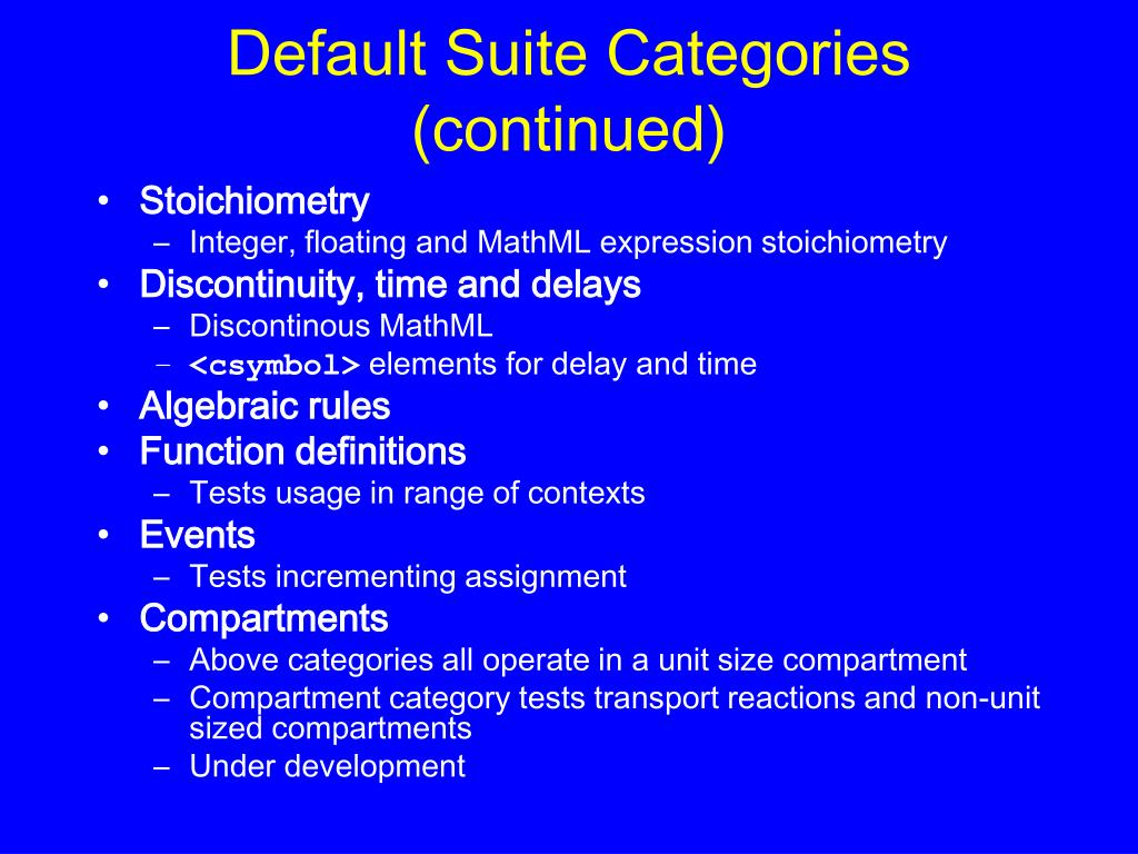 Default Suite Categories (continued)
