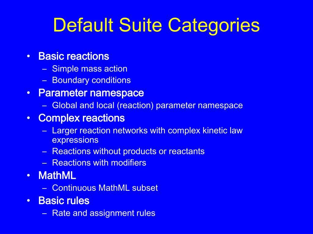 Default Suite Categories