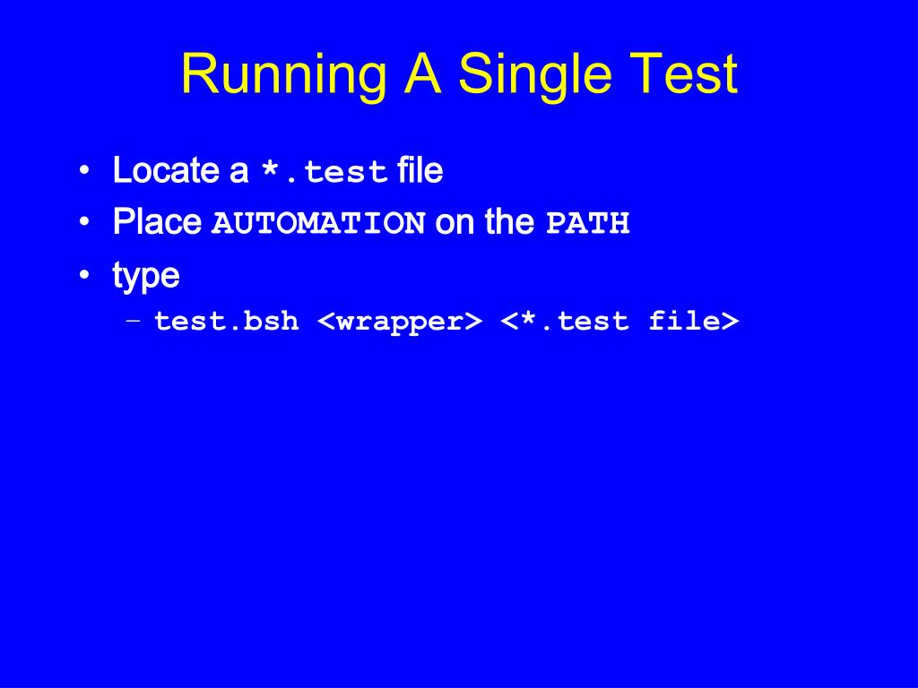 Running A Single Test