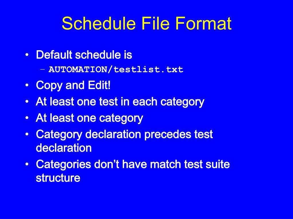 Schedule File Format
