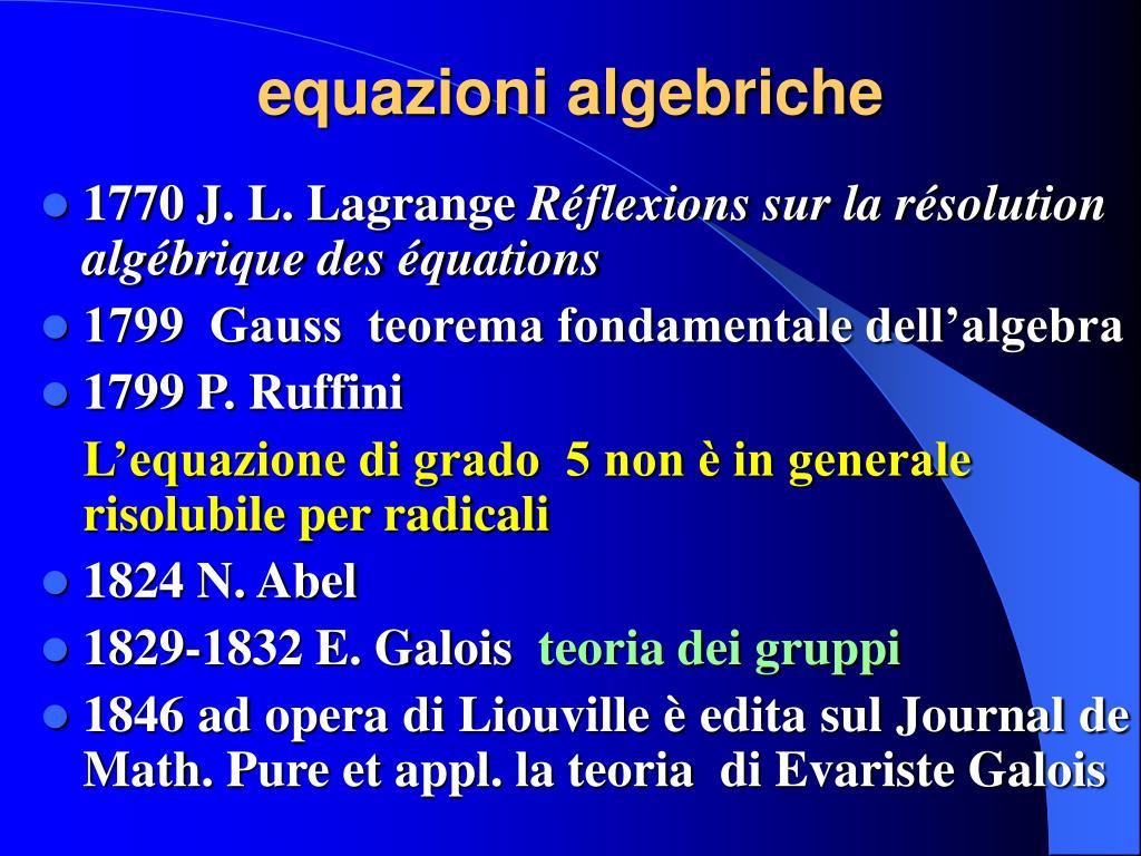 equazioni algebriche