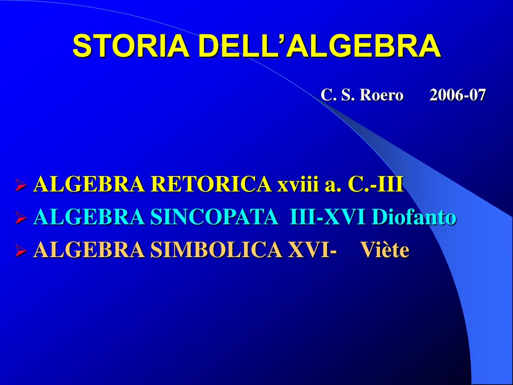 STORIA DELL'ALGEBRA