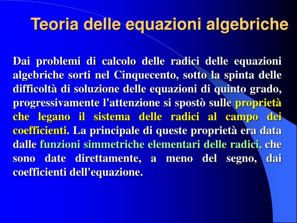 Teoria delle equazioni algebriche