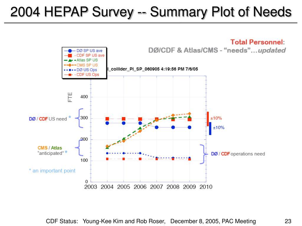 2004 HEPAP Survey -- Summary Plot of Needs