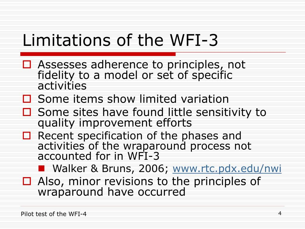 Limitations of the WFI-3