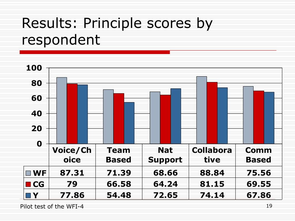 Results: Principle scores by respondent