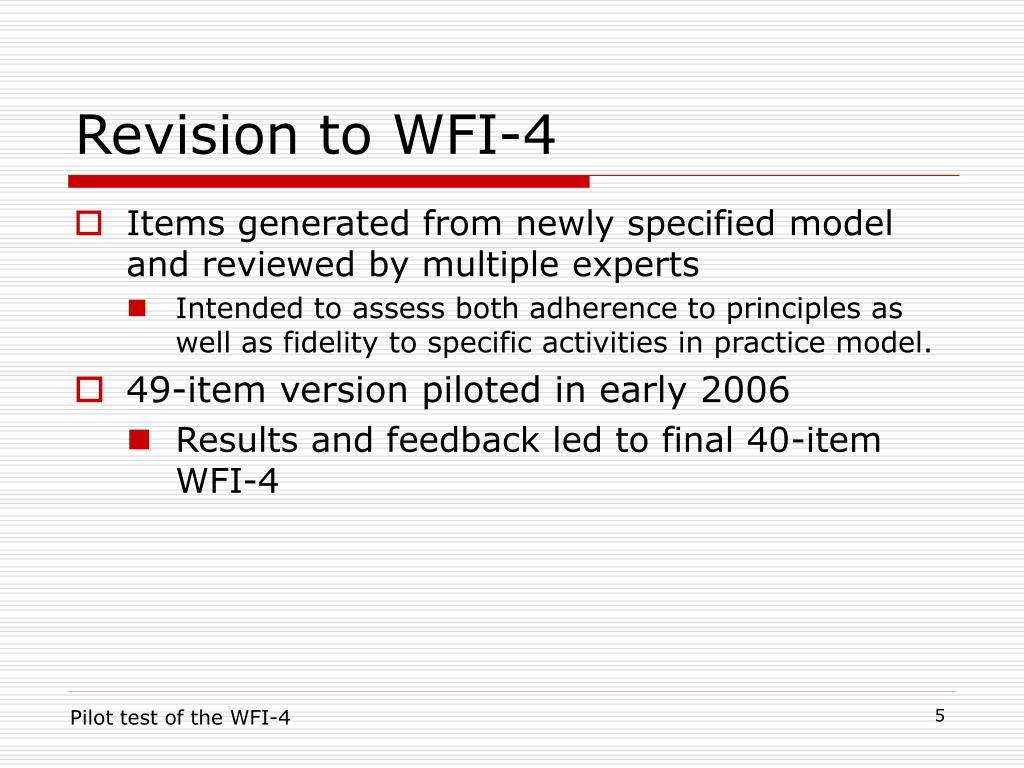 Revision to WFI-4