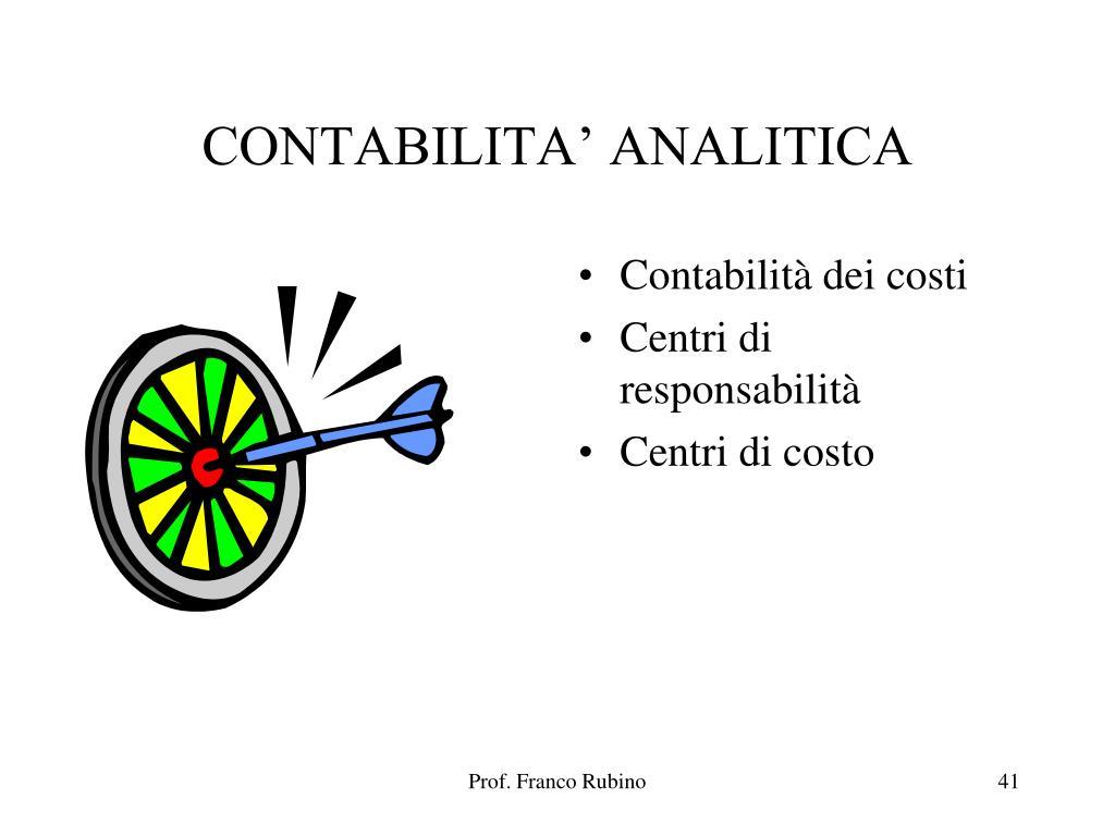 CONTABILITA' ANALITICA