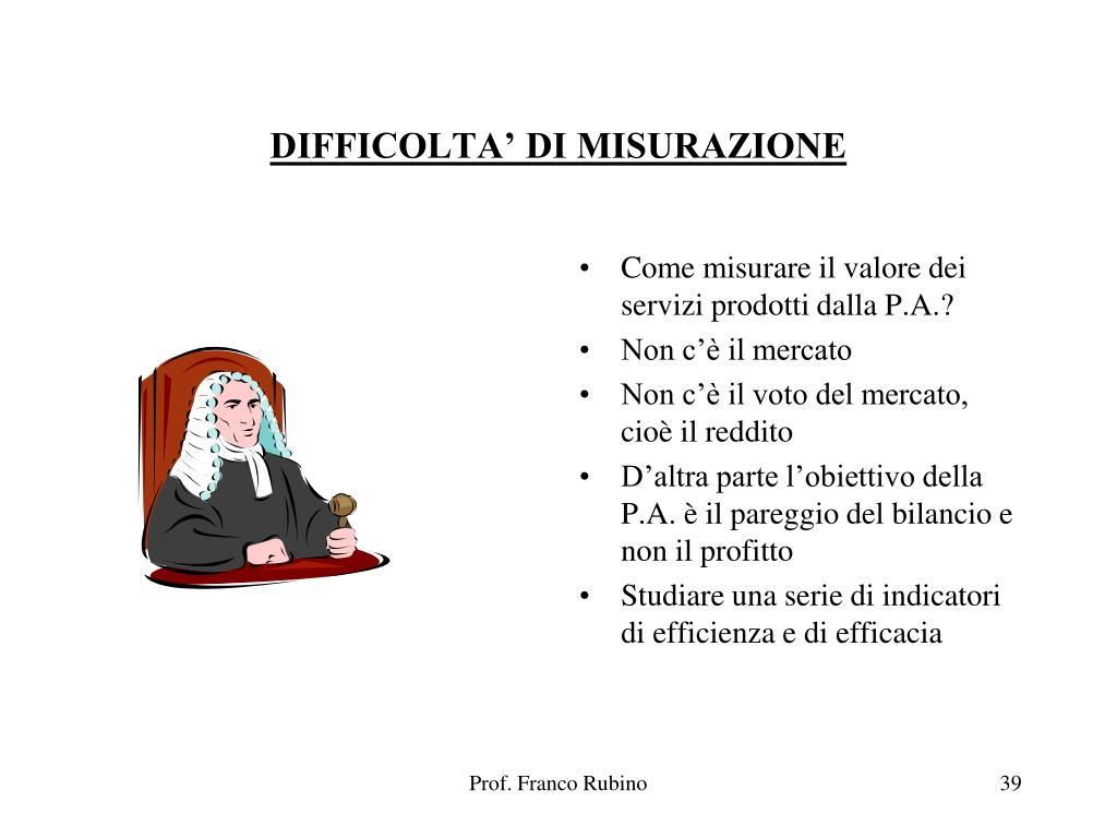 DIFFICOLTA' DI MISURAZIONE