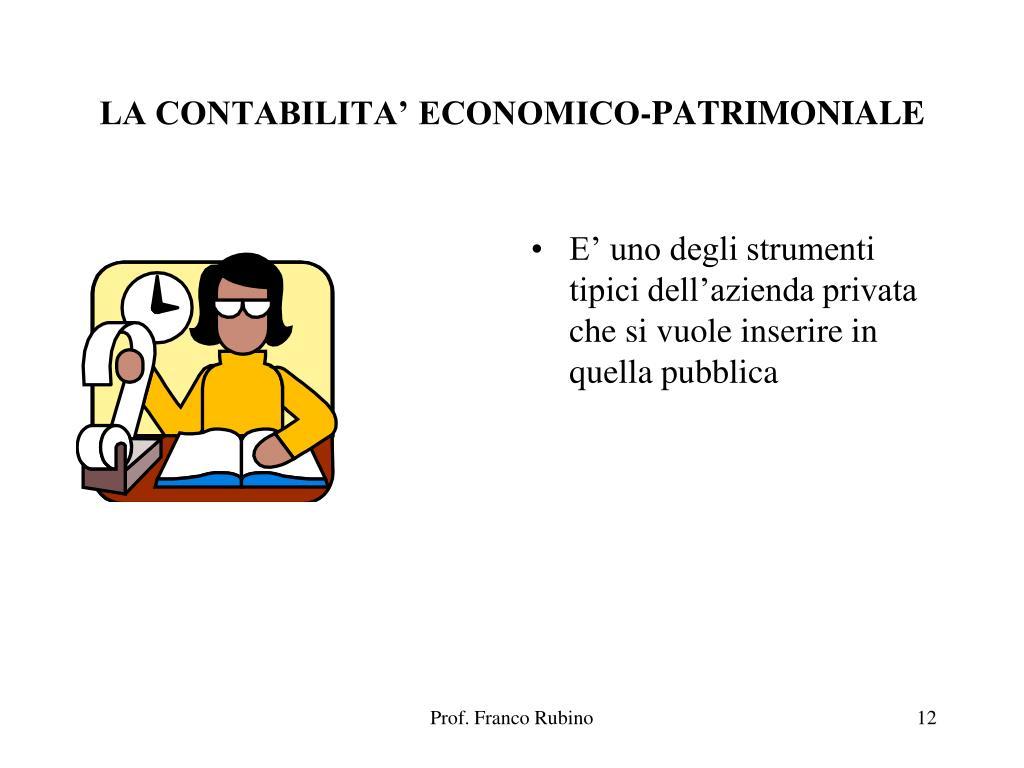 LA CONTABILITA' ECONOMICO-PATRIMONIALE