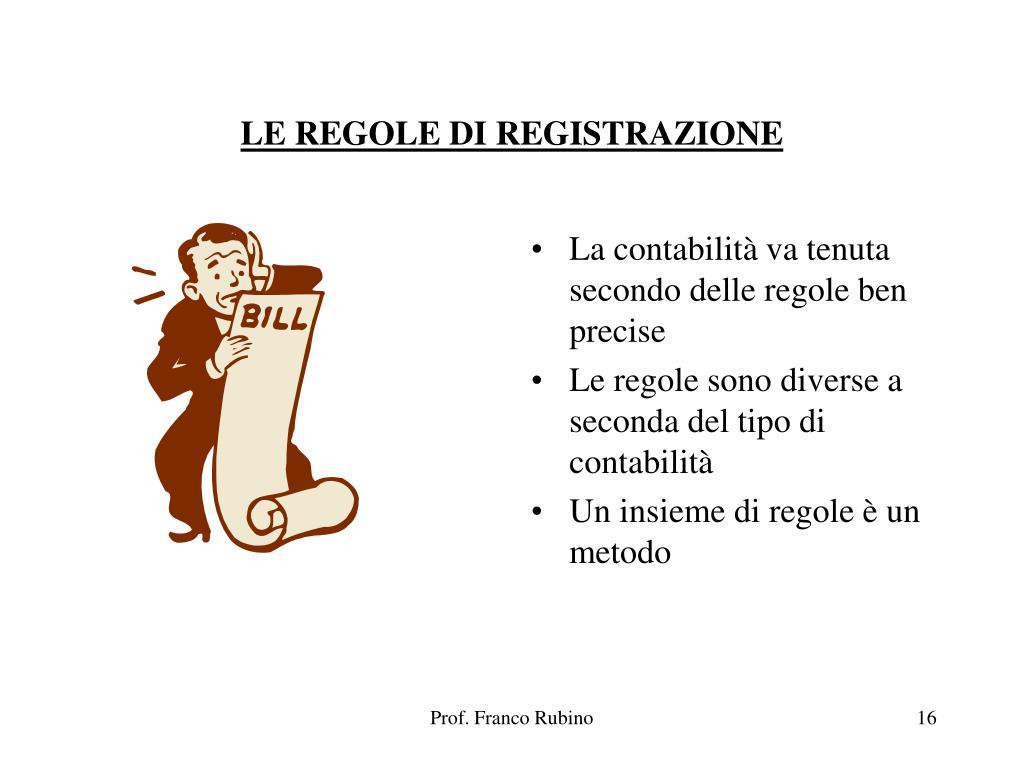 LE REGOLE DI REGISTRAZIONE