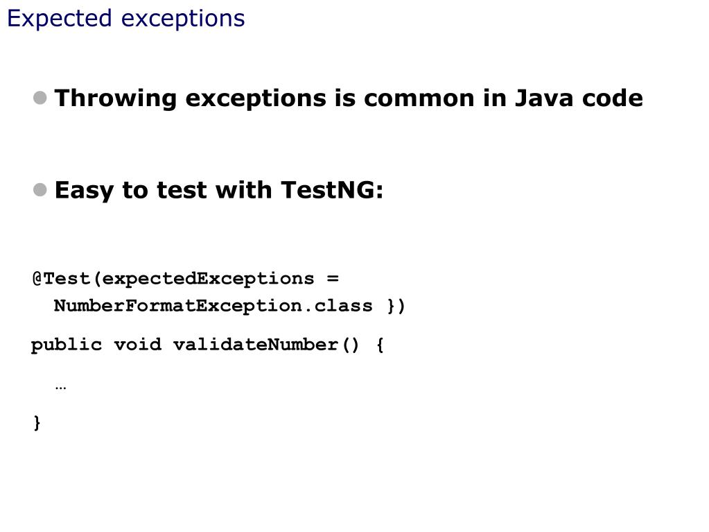 Expected exceptions