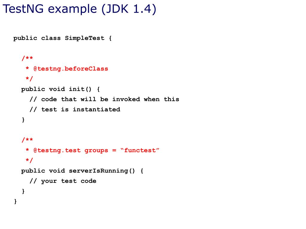 TestNG example (JDK 1.4)