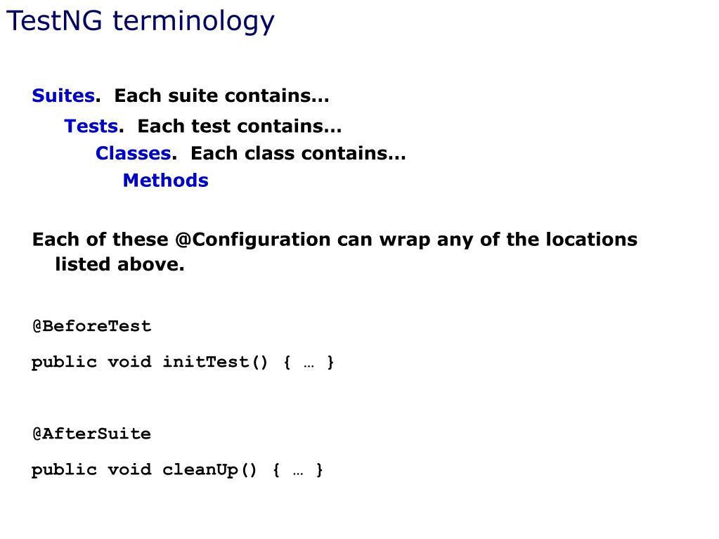 TestNG terminology