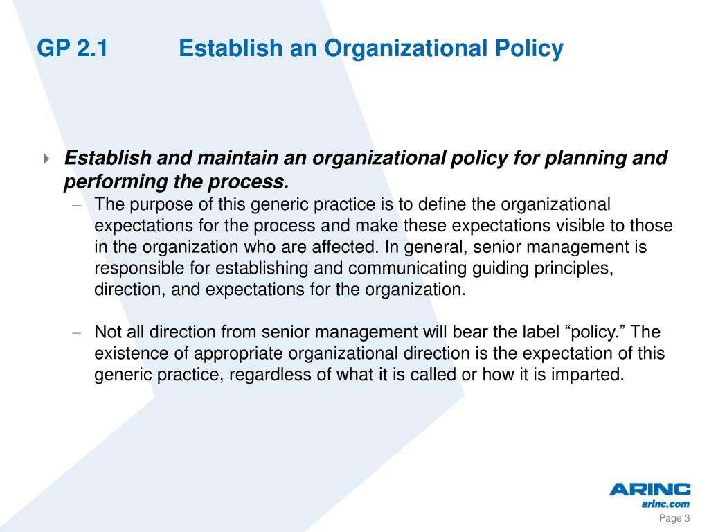 GP 2.1Establish an Organizational Policy