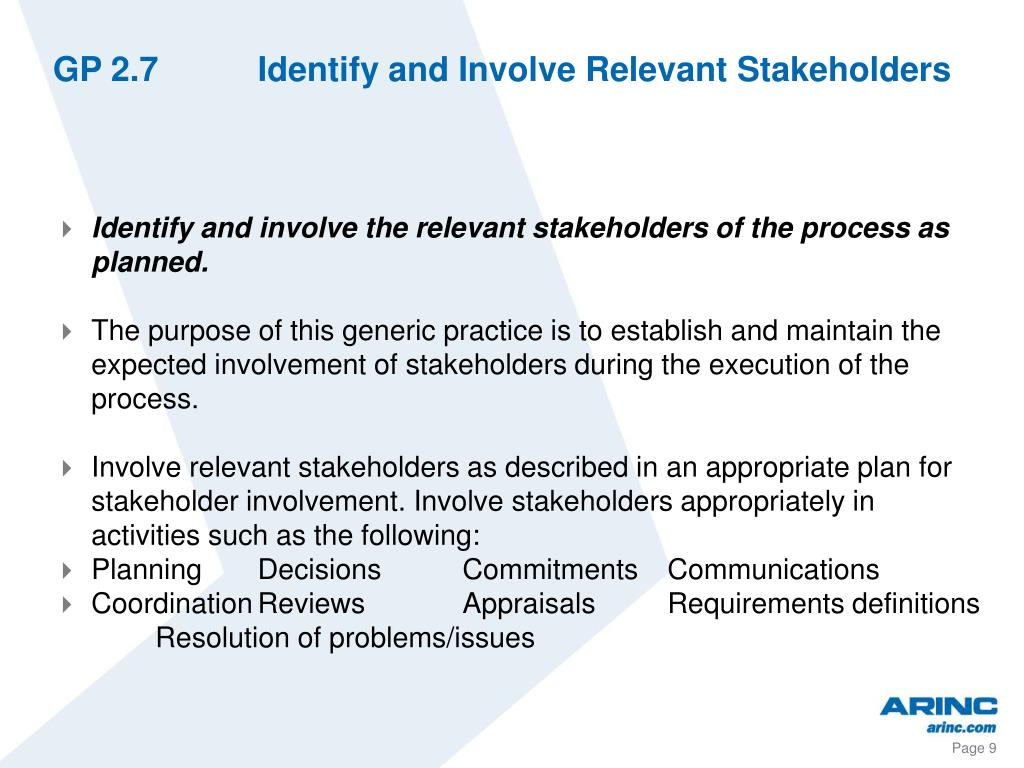 GP 2.7Identify and Involve Relevant Stakeholders