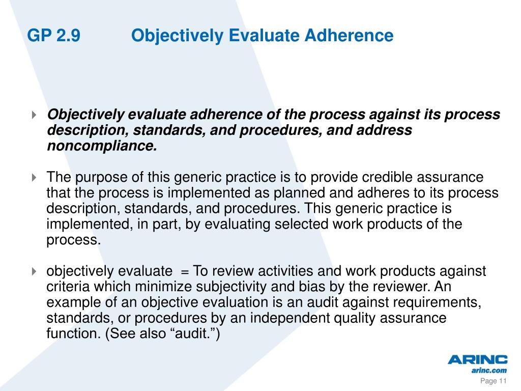 GP 2.9Objectively Evaluate Adherence