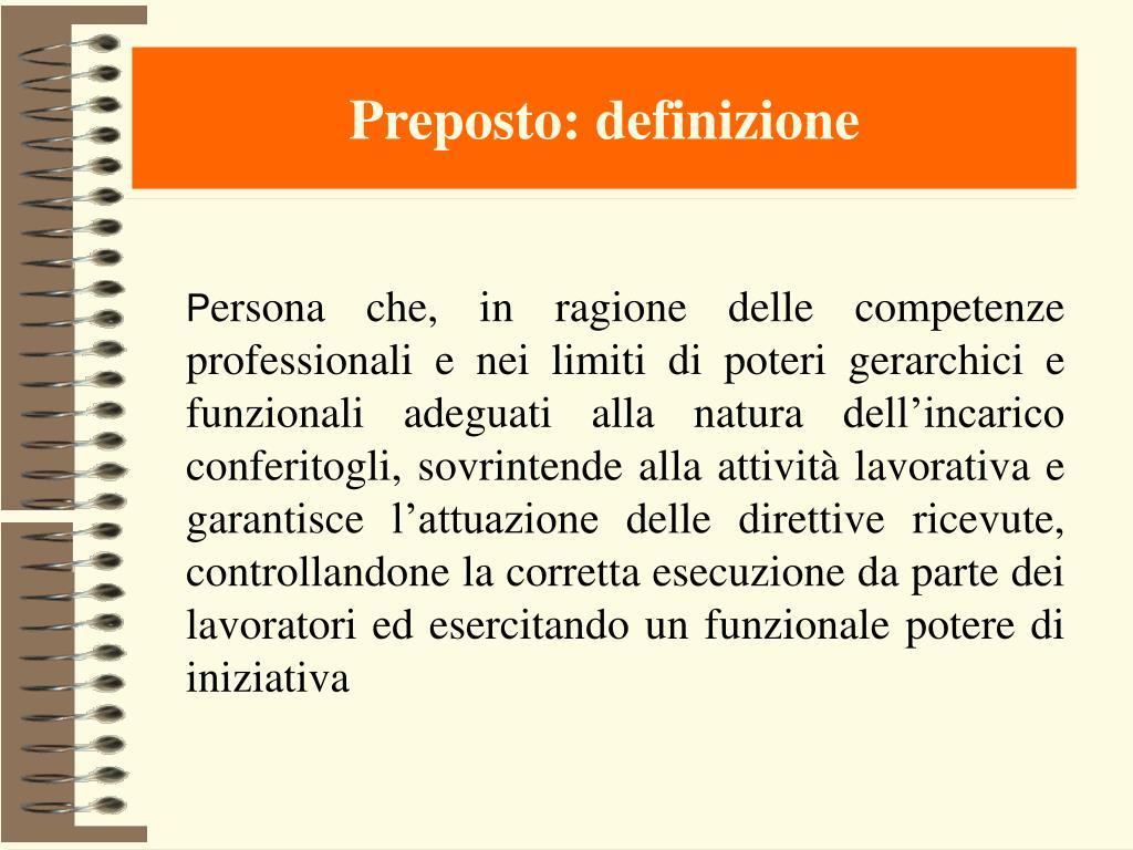 Preposto: definizione