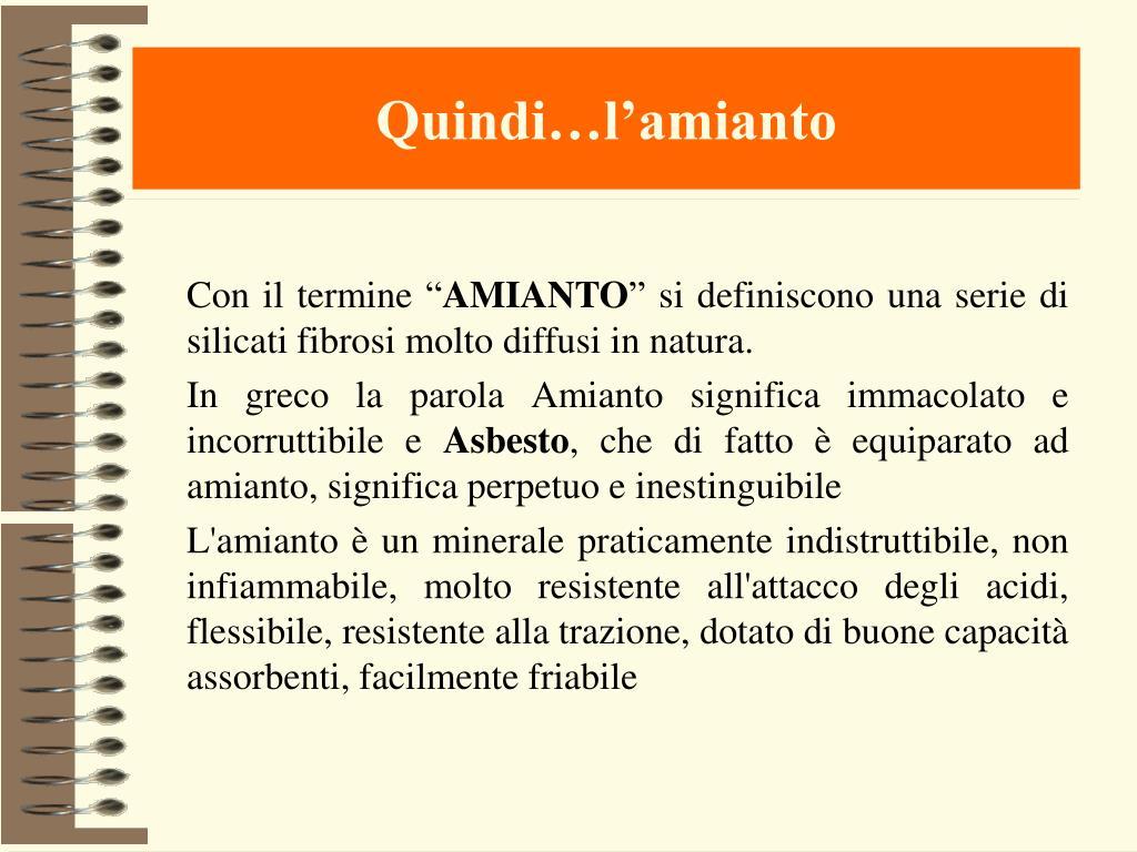 Quindi…l'amianto