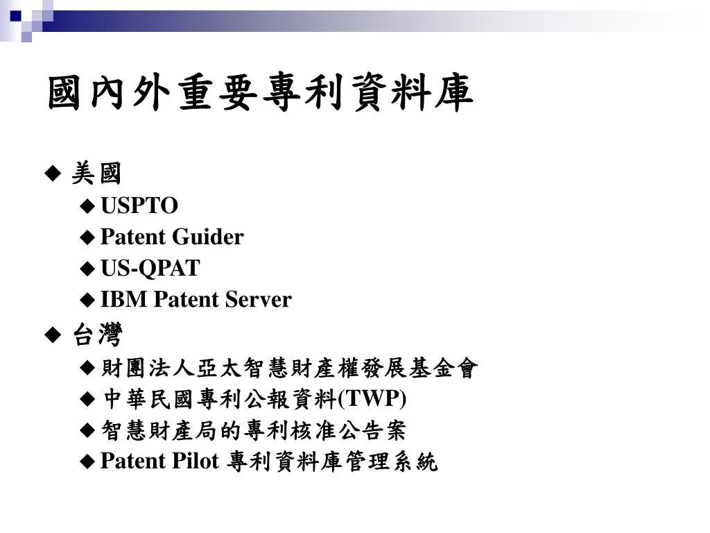 國內外重要專利資料庫