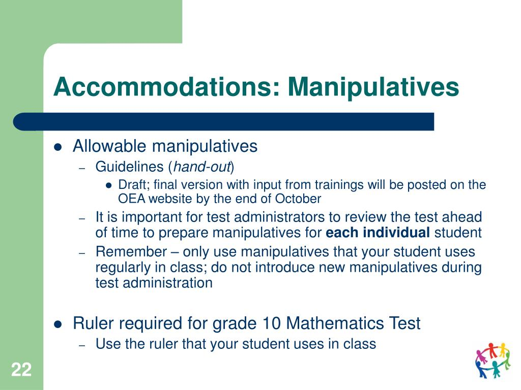 Accommodations: Manipulatives