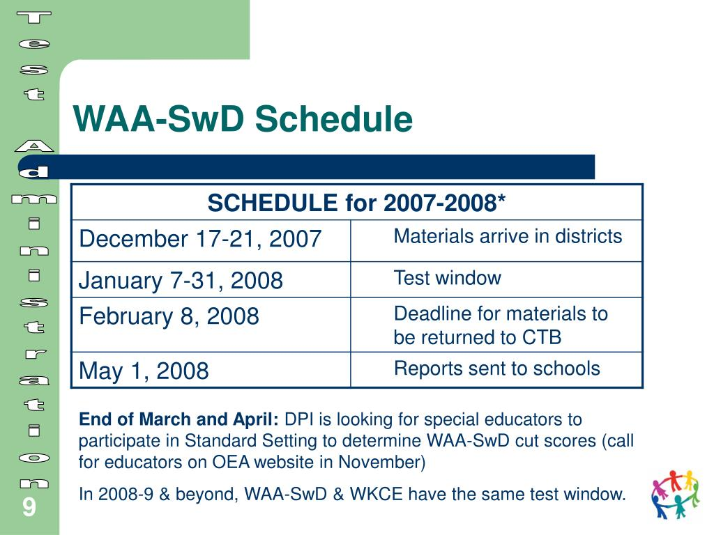 WAA-SwD Schedule