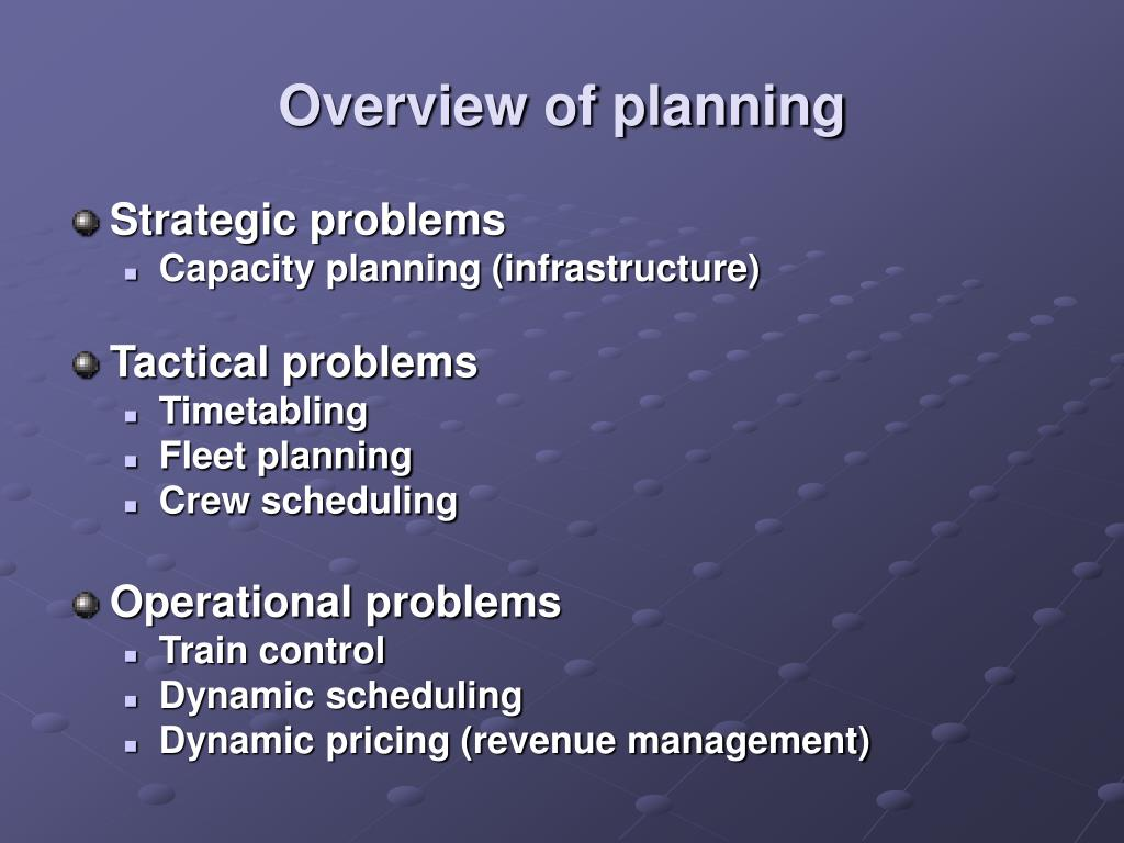 Overview of planning