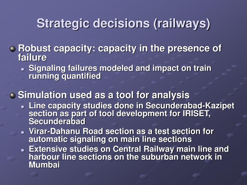 Strategic decisions (railways)