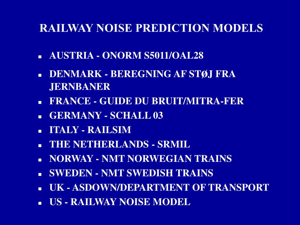 RAILWAY NOISE PREDICTION MODELS