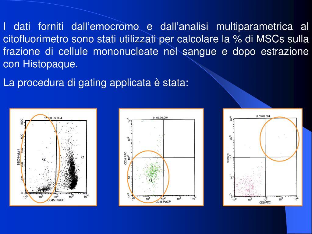 I dati forniti dall'emocromo e dall'analisi multiparametrica al citofluorimetro sono stati utilizzati per calcolare la % di MSCs sulla frazione di cellule mononucleate nel sangue e dopo estrazione con Histopaque.