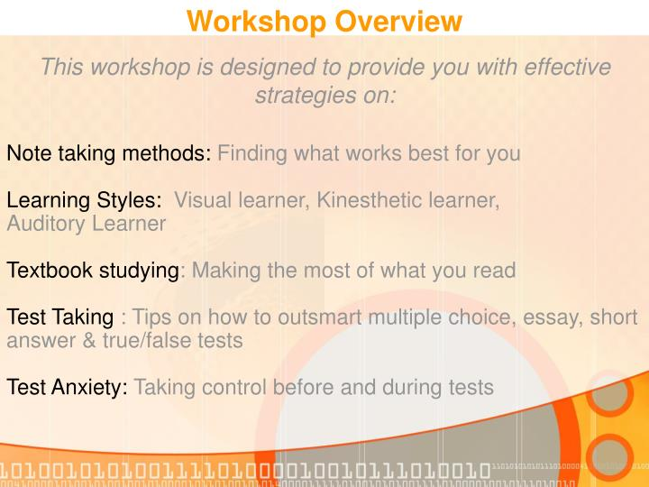 This workshop is designed to provide you with effective strategies on: