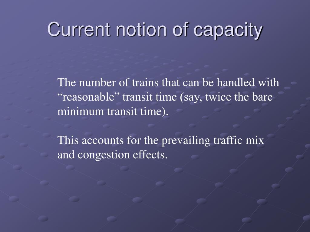 Current notion of capacity