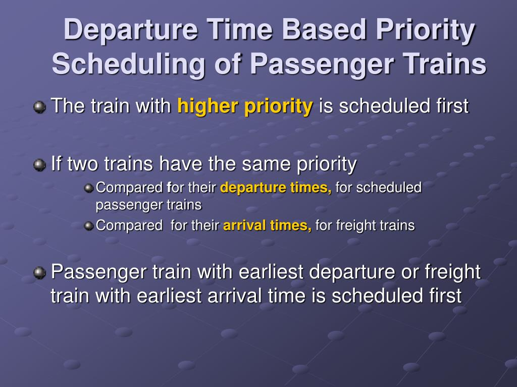 Departure Time Based Priority Scheduling of Passenger Trains