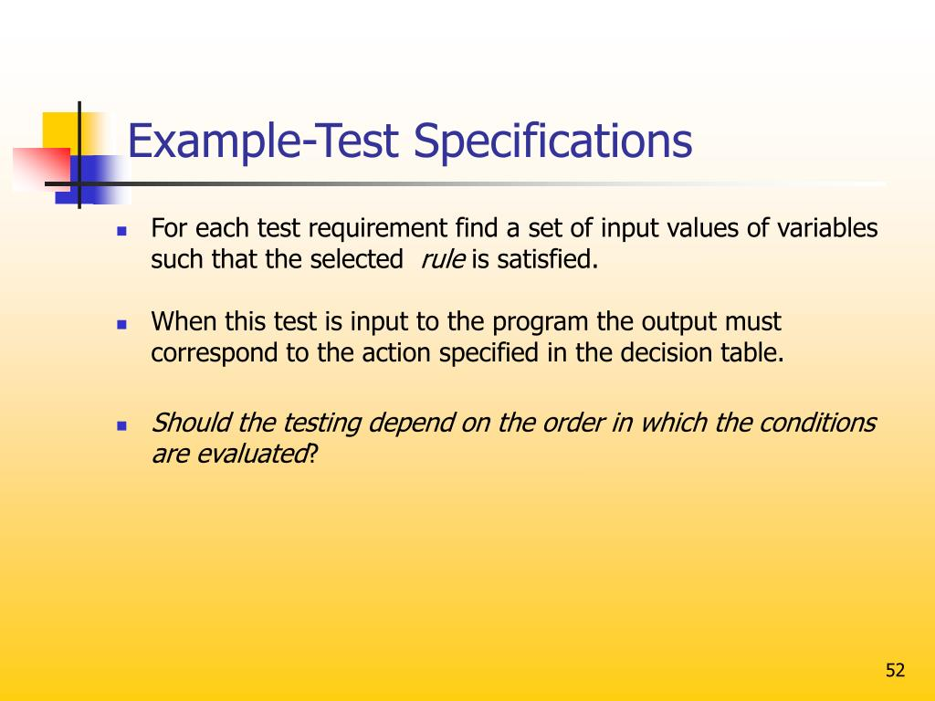 Example-Test Specifications